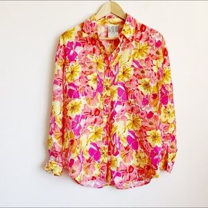 happy pure silk pink orange yellow floral blouse